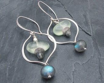 labradorite earrings, phrenite earrings, gemstone earrings, green gemstone earrings, gift for her, sterling silver,