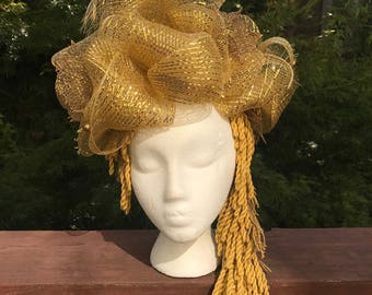 Two Way Gold Tulle and Fringe Headdress