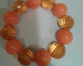 Orange chunky bead bracelet