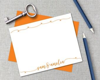 Personalized Stationery / Personalized Stationary Set / Hearts Custom Monogram Stationary / Couples & Wedding Shower Flat Note Card Set