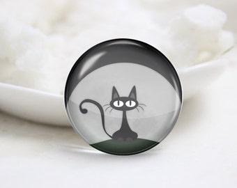 Handmade Round Cat Photo Glass Cabochons (P3577)