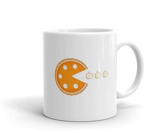 Funny Pumpkin Pie Coffee Mug. White Ceramic Thanksgiving Dessert Lover Tea Cup.