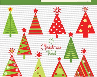 Christmas Tree Clipart. Christmas Tree Digital Images.  Christmas Tree Illustration. 215