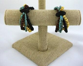 Handmade Wooden Elastic Bracelet, Fashion Bracelet, Wooden Beaded Bracelet, Women Accessories, Wooden Jewelry for Women, Bohemian Bracelet