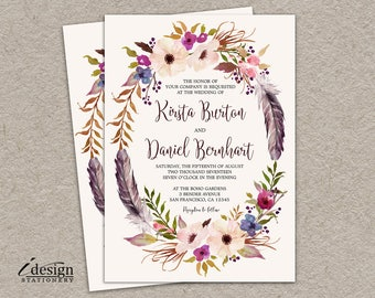 Floral Wreath Wedding Invitation | Printable Boho Wedding Invitations Bohemian Themed Invites With Watercolor Flowers And Feathers
