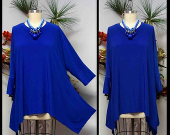 Free Shipping,Lagenlook Tunic, Plus size Tunic, Asymmetrical Tunic, Royal Blue Tunic, Plus size top, Women top,Top Seller.
