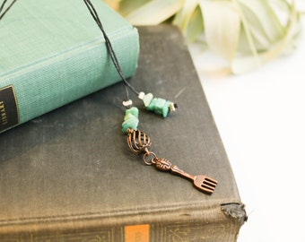 Fork bookmark with green beads