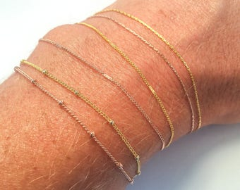 Delicate, Thin Gold Anklets Δ Simple Gold Chain Ankle Bracelet Δ Dainty, Minimalist Anklet Δ Friendship or Best Friend Anklet