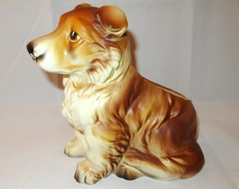 Vintage Napco COLLIE PUPPY PLANTER Napcoware #C 7087 Japan Rough Collie Ceramic Pottery Figurine Perky Cute Lassie Dog Lover Gift Collection