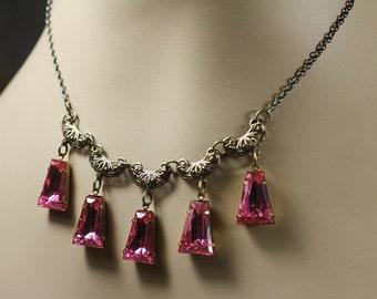 Pink jewel necklace art deco vintage style brass filigree geometric bridal old Hollywood wedding jewelry glamour