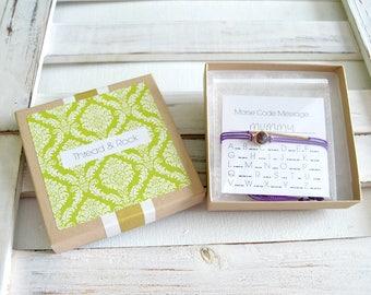 Mother's Day Gift Set - Morse Code & Swarovski Bracelet Set