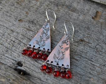 Stamped Copper Earrings, Rustic Earrings, Dangle Earrings, Wire Wrapped Earrings, Red Beads, Triangle Earrings, Rustic Copper Earrings
