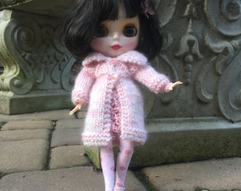 Pink mohair doll coat, pale pink doll coat, blythe winter coat, 12 inch doll pink sweater, knit fuzzy doll coat, coat with heart buttons