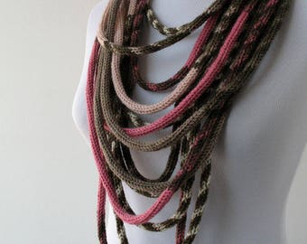 Knit Scarf Necklace, Loop scarf, Infinity scarf, Knitted scarflette, in yvory, pink, taupe and brown E126