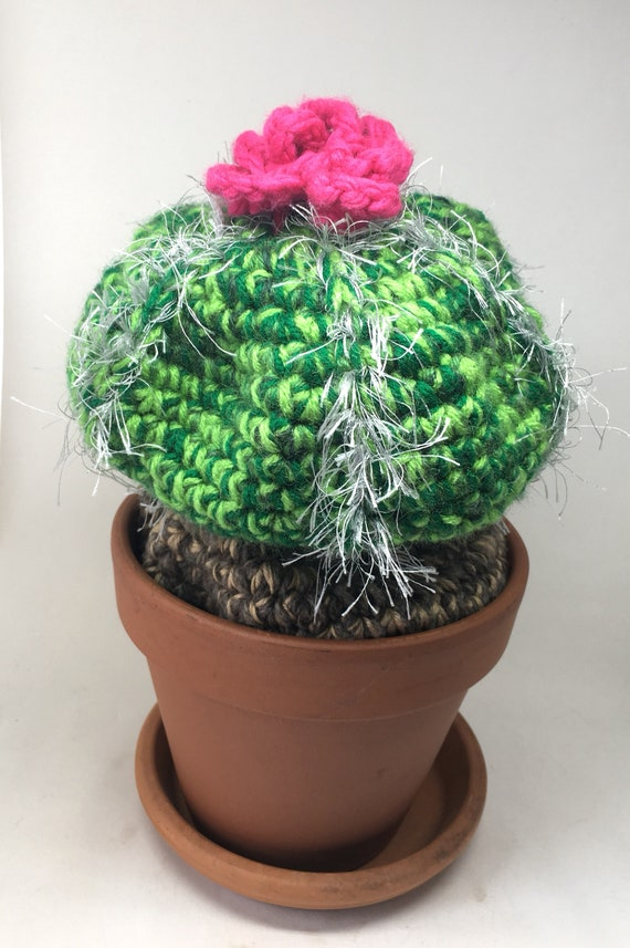 Hand crocheted cactus soft sculpture