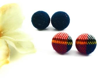 BOUTONS TISSU - Boucles d'Oreilles - Studs Acier Inoxydable - Tissu Récupéré - Cabochons Tissu -  Boutons d'Oreilles - Puces d'Oreilles Bleu