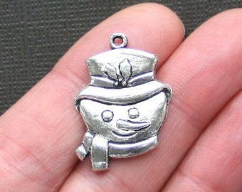 4 Snowman Charms Antique  Silver Tone - XC038