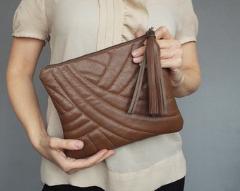 Leather qulted brown clutch. Leather clutch bag. Evening clutch purse. Quilted leather clutch bag