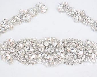 Bridal Belt with Clasp - All The Way Around Rhinestone Bridal Belt -Rhinestone Belt with Clasp - Beaded wedding Belt- silver pearl belt B100