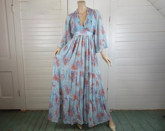 70s Cloud Blue Maxi Dress- Empire Waist, Bell Sleeves- Flower Print- Hippie Festival Boho Woodstock Prairie