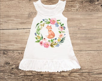 Fox Dress for Baby, Toddler Dress with Ruffle Collar