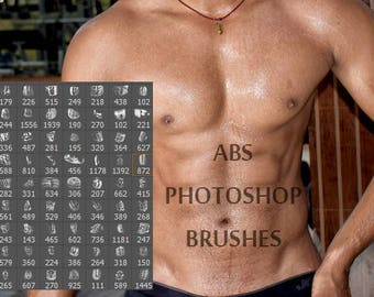 77 ABS Photoshop Brushes / Muscles, ABS, 6 Pack, Arms, Legs, Chest, Biceps, Body Builder Brush / Photoshop Brushes / ABS Brushes  / ps brush