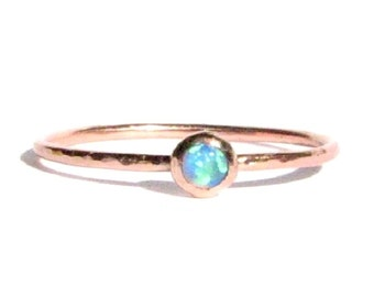 Sale! : Thin Opal Ring- SOLID Rose Gold Opal Ring -Stacking Ring -Thin Gold Ring -Opal Engagement Ring -Opal Rose Gold Ring -Made To Order