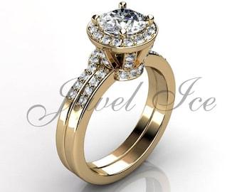 Engagement Ring Set - 14k Yellow Gold Diamond Unique Wedding Band Engagement Ring Set Bridal Set Anniversary Ring Wedding Ring ER-1132-2