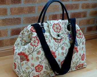 Carpet Bag, Weekender Bag, Floral Bag, Mary Poppins Bag, Overnight Bag, Luggage and Travel, Bags and Purses