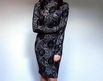 Black Gold Dress Vintage 80s Dress Long Sleeve Dress Bodycon Dress Stretch Dress - Extra Large XL