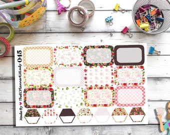 045 - (Shabby Chic Floral Sticker Set) Floral, Planner Sticker, Kiss Cut Stickers