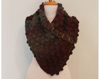 Crochet Neck Warmer, Scarf, Cowl, Chunky Neck Warmer, Gift for her, Burgundy Scarf, Buttoned Scarf, Retro Style, Vintage Style, Gift