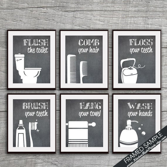 Perfect Funny Bathroom Prints Set Of 6 Art Prints Featured In