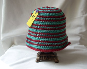 Girl's Striped Cloche Hat, Child Crochet Dress Hat, Winter Hat with Brim, Gifts for Girls, Daughter, Granddaughter, Niece