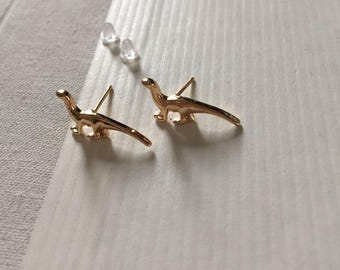 Gold/Silver Brontosaurus Surgical Steel Earrings