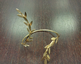 "Gold Leaf Cuff Bracelet '' Physis"" handmade BRASS metal in gold-plated 18K/ Gold Leaves Cuff /Gold Leaf Bracelet"