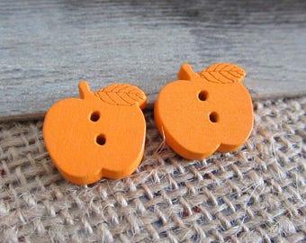 5 x orange Apple buttons 17 mm wooden