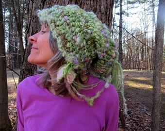 hand knit slouchy hat soft art yarn fairy fantasy hat -  soft garden hat