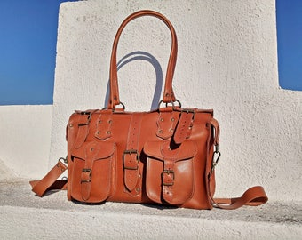 Large Tote bag, Shoulder Bag, Leather Overnight Bag, Women Carry on bag, Crossbody Bag, Handmade Vintage Styled Bag