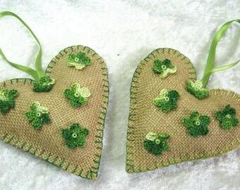 Hanging rustic heart, hanging sackcloth heart, flower crochet, filled heart