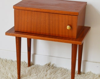 60s wooden bedside table