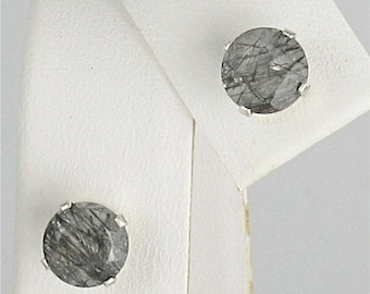 MothersDaySale Tourmalinated Quartz 6mm 1.50ctw Stud Earrings Sterling Silver Natural Untreaded