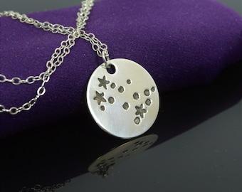 Sterling Silver Gemini Necklace, Gemini Necklace, Sterling Silver, Gemini Constellation, Gemini Jewelry, Zodiac Pendant, Gemini,  Zodiac