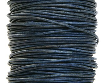 Round Leather Cord  2 mm Diameter Natural Blue (Length: 5 yards)