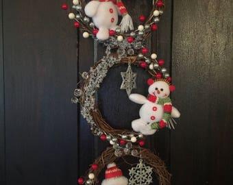 Snowman Christmas Hanging wreath