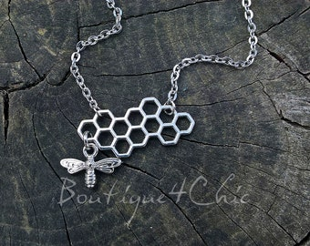 Honeycomb Necklace with small bee, honeybee style necklace, modern, unique