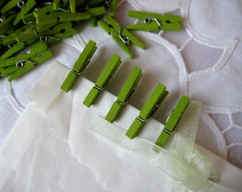 "1"" MINI Green Wooden Clothespins for Wedding Favors, Scrapbooking, Party Favors, Embellishment, Gift Tags, 50 pcs"