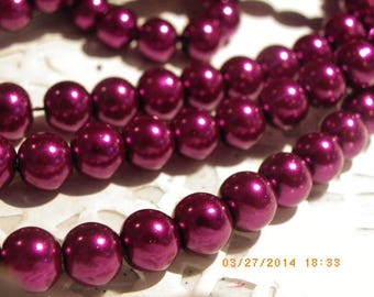 50 glass Pearl 8 mm with a beautiful Burgundy wine beads