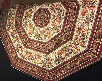 Quilted Octagonal Burgundy Floral Stripe Christmas Tree Skirt, Victorian Rug Tree Skirt, Holiday tree skirt,unique christmas tree skirt,gift