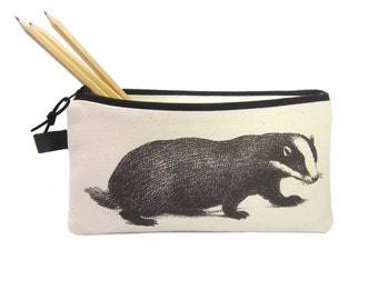 Badger Pencil Case, Woodland Animal Zip Pouch, Personalised Gift, Large Pencil Bag